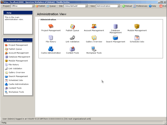 OpenCms Administration view