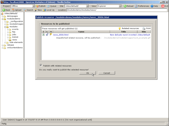 Publish dialog, showing a referenced image to publish together with the file