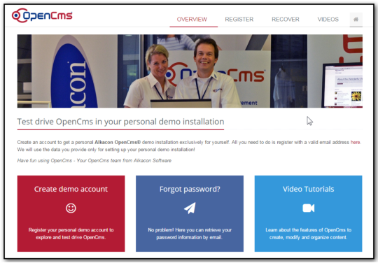 The updated OpenCms live demo website