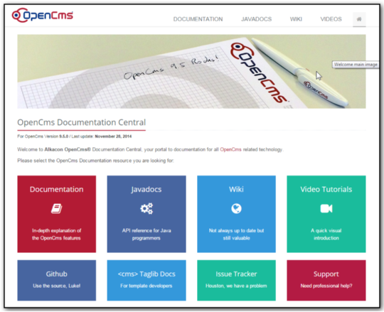 The new OpenCms documentation website